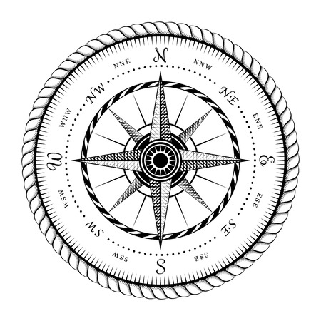Illustration pour Ancient Sign of Wind Rose Engraving Stylized  Illustration Isolated on White Background - image libre de droit