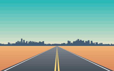 Illustration for Road in the Desert with Views of the City Skyline  Stylized Conceptual Illustration - Royalty Free Image
