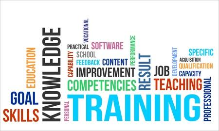 Illustration pour A word cloud of training related items - image libre de droit