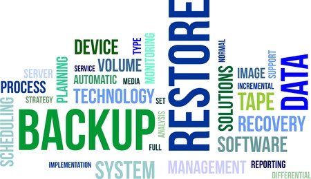 Illustration pour A word cloud of backup restore related items - image libre de droit