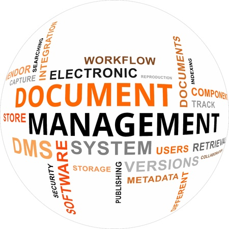 Illustration for A word cloud of document management related items - Royalty Free Image
