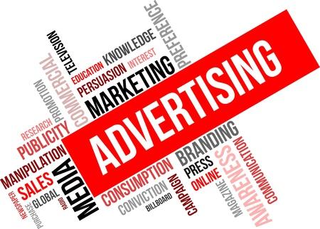 Ilustración de A word cloud of advertising related items - Imagen libre de derechos