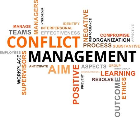 Ilustración de A word cloud of conflict management related items - Imagen libre de derechos