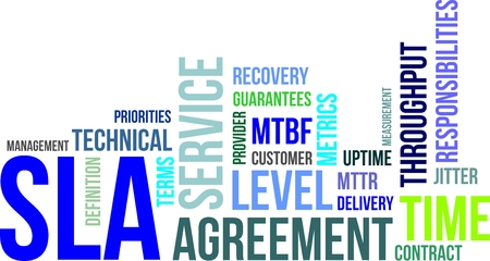 Illustration pour A word cloud of service level agreement related items - image libre de droit
