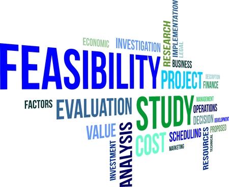 Illustration pour A word cloud of feasibility study related items - image libre de droit