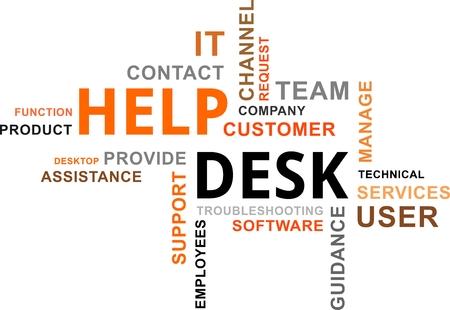 Illustration pour A word cloud of help desk related items - image libre de droit