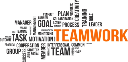Illustration pour A word cloud of teamwork related items - image libre de droit