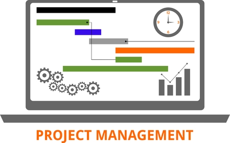 Ilustración de An illustration showing a project management concept - Imagen libre de derechos