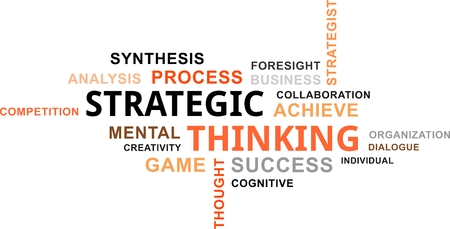 Illustration pour A word cloud of strategic thinking related items - image libre de droit
