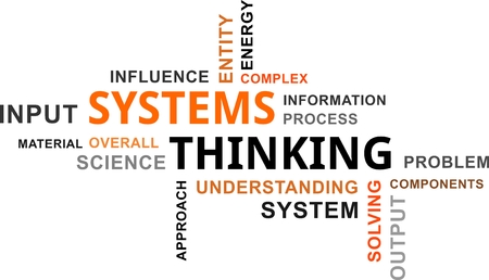Illustration pour A word cloud of systems thinking related items - image libre de droit