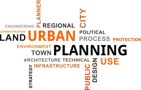 Illustration pour A word cloud of urban planning related items - image libre de droit