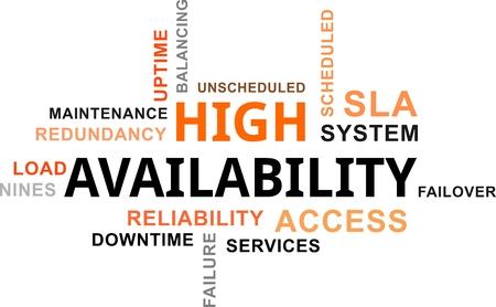 Illustration pour A word cloud of high availability related items - image libre de droit