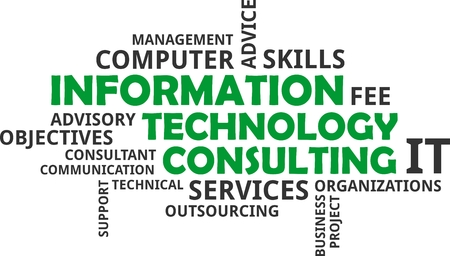 Illustration pour A word cloud of information technology consulting related items - image libre de droit