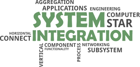 Ilustración de A word cloud of system integration related items - Imagen libre de derechos
