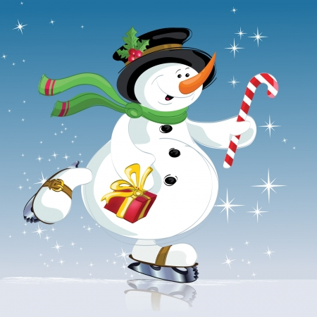 Illustration for snowman with gift  Christmas, new year  - Royalty Free Image
