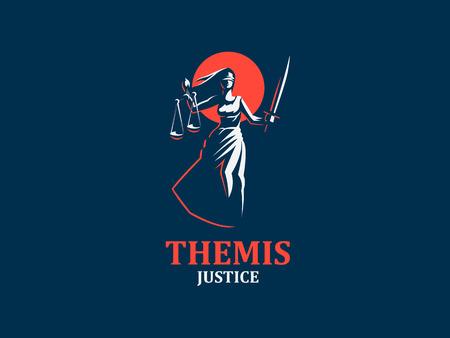 Illustration pour The goddess of justice Themis. Set. Vector illustration - image libre de droit