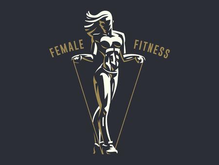 Illustrazione per Sporty woman fitness emblem silhouette. Vector illustration. - Immagini Royalty Free