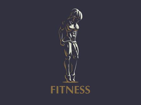 Ilustración de Sporty muscular woman fitness emblem. Vector illustration. - Imagen libre de derechos