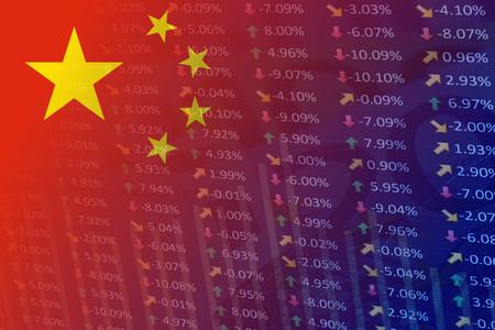 Foto de china flag with indicators and chart - Imagen libre de derechos