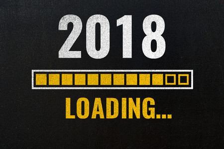 Photo pour 2018 loading with progress bar, chalk drawing on blackboard - image libre de droit