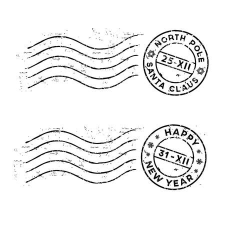 Illustration pour Christmas and New Year rubber post stamps isolated on white. Vector - image libre de droit