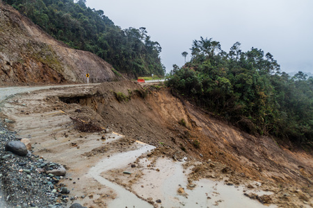 Photo for Landslide on a road in Cuenca region of Colombia - Royalty Free Image