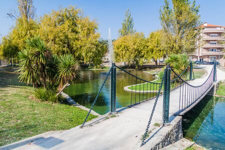 Photo pour Foot bridge at Parque Infante Dom Pedro park in Aveiro, Portugal - image libre de droit