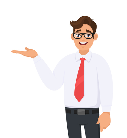 Ilustración de Portrait of businessman showing/pointing hand to copy space side away with open palm, concept of advertisement product, introduce something. Man shows presenting gesture or sign. Cartoon illustration. - Imagen libre de derechos
