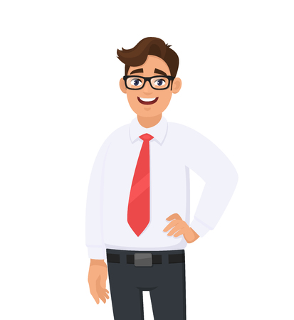 Illustrazione per Portrait of confident handsome young businessman in white shirt and red tie, standing against white background. Human emotion and businessman concept illustration in vector cartoon flat style. - Immagini Royalty Free