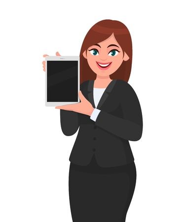 Illustrazione per Happy young business woman showing or holding a brand new digital tablet computer in hand. Female character design illustration. Modern lifestyle, technology gadget concept in vector cartoon style. - Immagini Royalty Free
