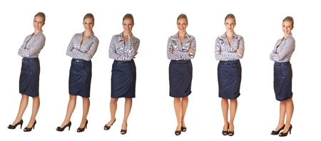 Woman in office different poses isolated on white