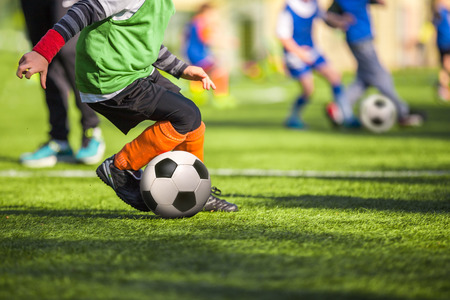 Photo pour Football training for children - image libre de droit