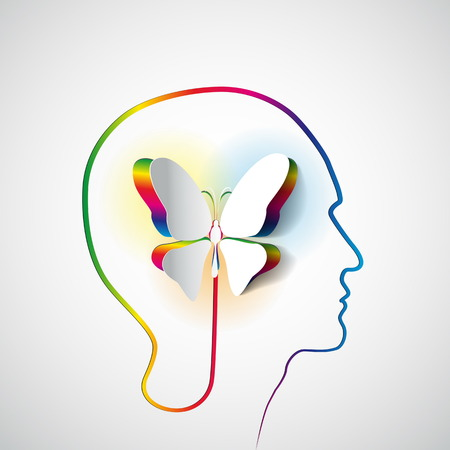 Illustration pour Human head with paper butterfly - symbol Freedom and creativity - design concepts - image libre de droit
