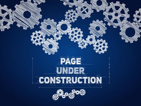 Photo pour Page Under construction blueprint, sketched drawing with gear wheels - image libre de droit