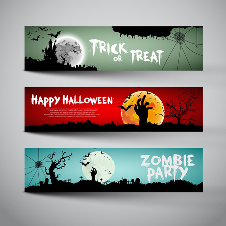 Illustrazione per Happy Halloween banners set design, Trick or treat, Zombie party, vector illustration - Immagini Royalty Free