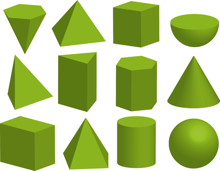 Illustration for Basic 3d geometric shapes. Geometric solids. Pyramid, prism, polyhedron, cube, cylinder, cone, sphere, hemisphere. Isolated on white background. - Royalty Free Image