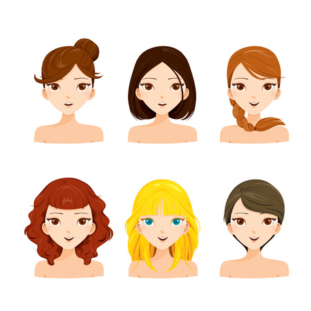 Illustration pour Young Women Faces With Various Hairstyles Set , Hair Colors, Ladies Fashion, Beauty - image libre de droit