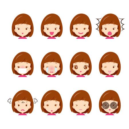 Ilustración de Cute girl emoticons set, emoji, facial, feeling, mood, personality, symbol - Imagen libre de derechos