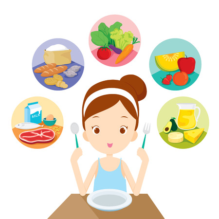 Ilustración de Cute girl ready to eat the 5 food groups, healthy, organic, nutrition, medicine, mental and physical health, category - Imagen libre de derechos