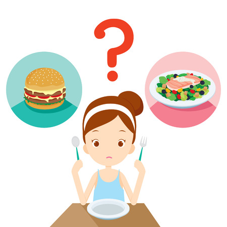 Ilustración de Useful and useless food, question for girl choosing to eat, healthy, organic, nutrition, medicine, mental and physical health, category - Imagen libre de derechos