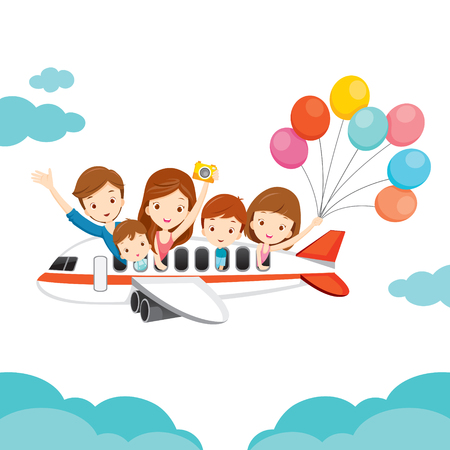 Ilustración de Family Happy on Airplane, Vacations, Holiday, Travel Destination, Journey Trips, Transportation - Imagen libre de derechos