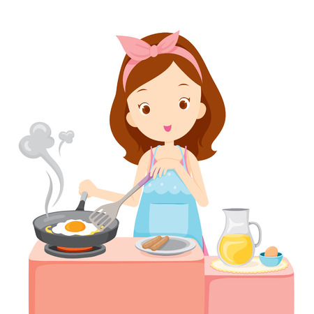 Girl Cooking Fried Egg For Breakfast, Kitchen, Kitchenware, Crockery, Cooking, Food, Bakery, Occupation, Lifestyle