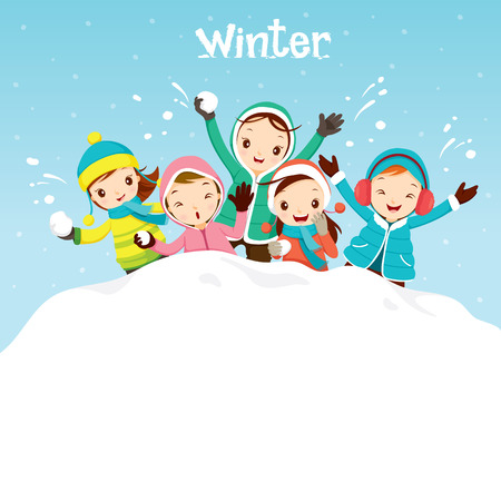 Illustration pour Children Playing Snow Together, Activity, Travel, Winter, Season, Vacation, holiday, Nature, Object - image libre de droit