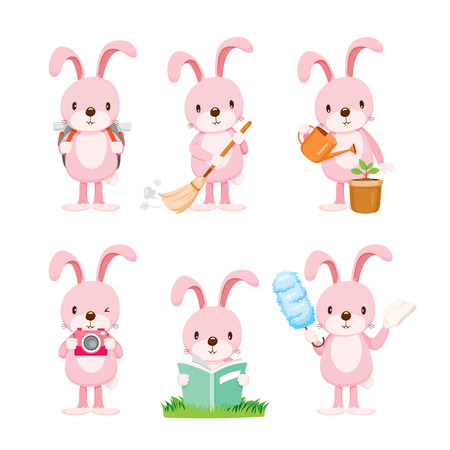 Illustration pour Pink Rabbit Actions Set, Housework, Appliance, Domestic Tools, Computer Icon, Cleaning, Symbol, Icon Set, Spring Season - image libre de droit