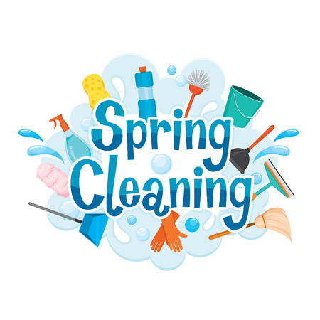 Illustration for Spring Cleaning Letter Decorating And Cleaning Equipment, Housework, Appliance, Domestic Tools, Computer Icon, Cleaning, Symbol, Icon Set, Spring Season - Royalty Free Image