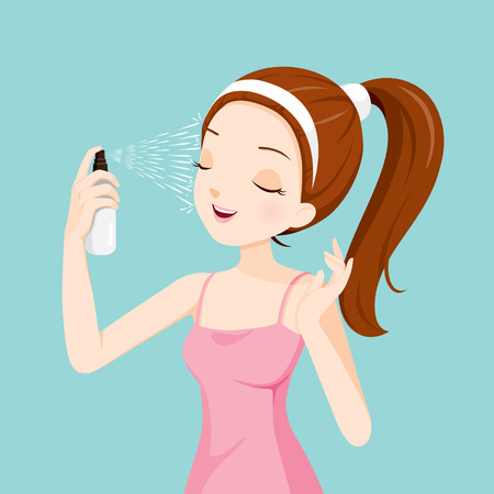Illustration pour Girl Spraying Mineral Water On Her Face, Facial, Beauty, Skin, Cosmetic, Makeup, Health, Lifestyle, Fashion - image libre de droit