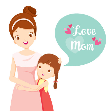 Illustration pour Daughter Hugging Her Mother, Mother's Day, Mother, Embracing, Hug, Daughter, Love, Children - image libre de droit
