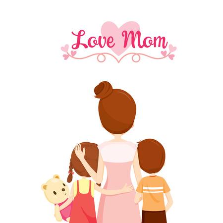 Illustration pour Mother, Son And Daughter Hugging Together, Family, Embracing, Hugging, Parent, Offspring, Love, Relationship - image libre de droit