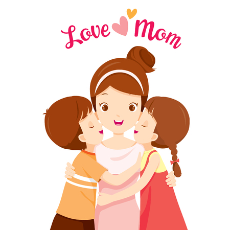 Illustration pour Son And Daughter Hugging Their Mother And Kissing On Her Cheeks, Mother's Day, Kissing, Mother, Cheeks, Embracing, Hug, Love, Children, Sibling - image libre de droit