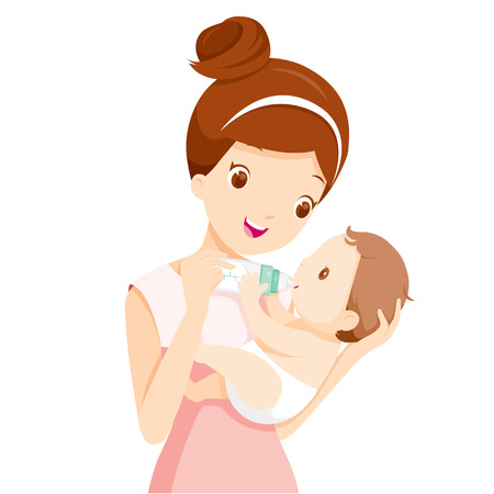 Illustration pour Mother Feeding Baby With Milk In Baby Bottle, Mother's day, Mother, Baby Bottle, Feeding, Sucking, Infant, Motherhood, Innocence - image libre de droit